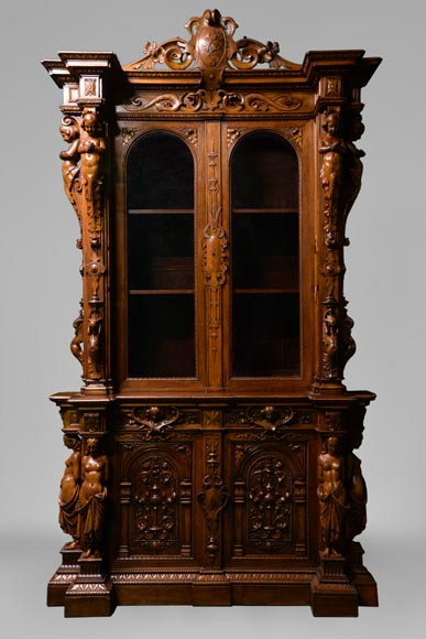 Claude-Aimé CHENAVARD (Att. to) - Important neo-Renaissance style cupboard with caryatids in carved walnut-0