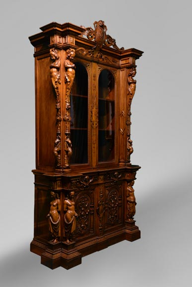 Claude-Aimé CHENAVARD (Att. to) - Important neo-Renaissance style cupboard with caryatids in carved walnut-1