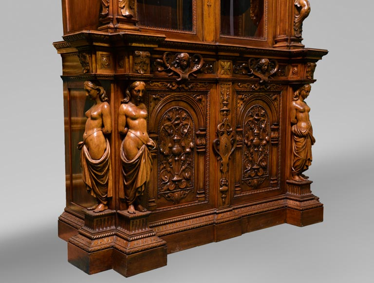 Claude-Aimé CHENAVARD (Att. to) - Important neo-Renaissance style cupboard with caryatids in carved walnut-2