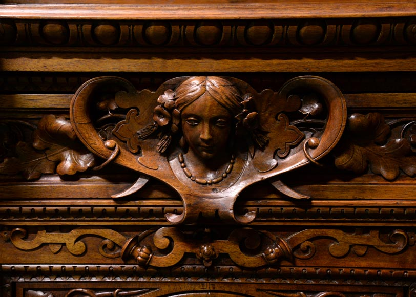 Claude-Aimé CHENAVARD (Att. to) - Important neo-Renaissance style cupboard with caryatids in carved walnut-4