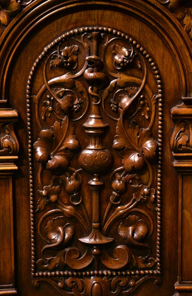 Claude-Aimé CHENAVARD (Att. to) - Important neo-Renaissance style cupboard with caryatids in carved walnut-5