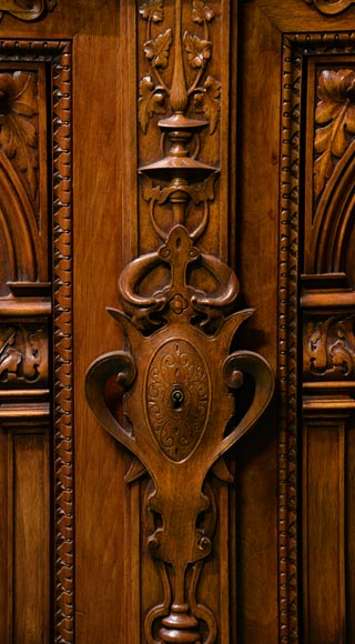 Claude-Aimé CHENAVARD (Att. to) - Important neo-Renaissance style cupboard with caryatids in carved walnut-6