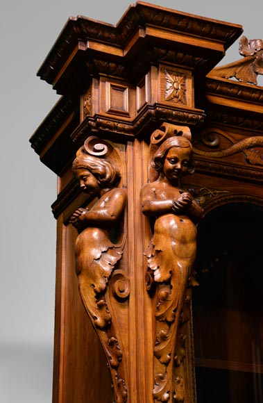 Claude-Aimé CHENAVARD (Att. to) - Important neo-Renaissance style cupboard with caryatids in carved walnut-7