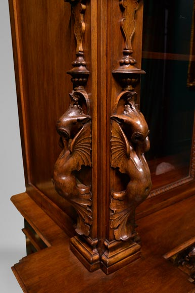 Claude-Aimé CHENAVARD (Att. to) - Important neo-Renaissance style cupboard with caryatids in carved walnut-8