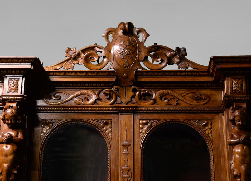 Claude-Aimé CHENAVARD (Att. to) - Important neo-Renaissance style cupboard with caryatids in carved walnut-9