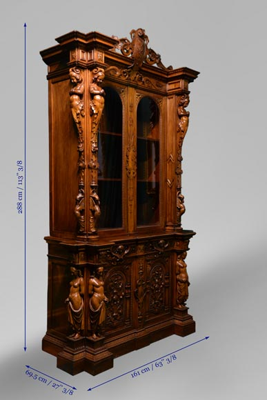 Claude-Aimé CHENAVARD (Att. to) - Important neo-Renaissance style cupboard with caryatids in carved walnut-10