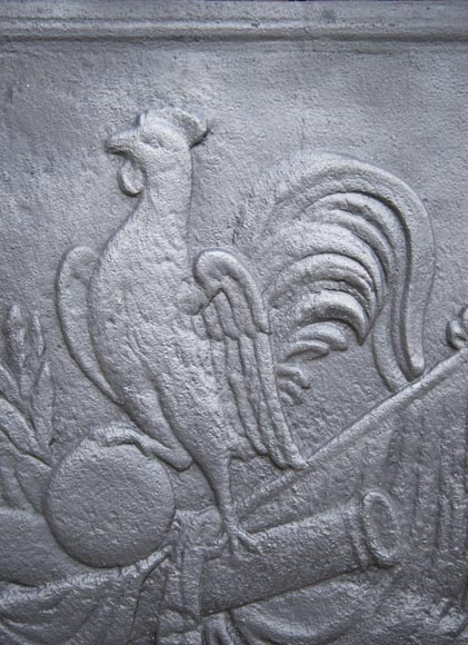 Modern fireback with the Gallic rooster decoration-1