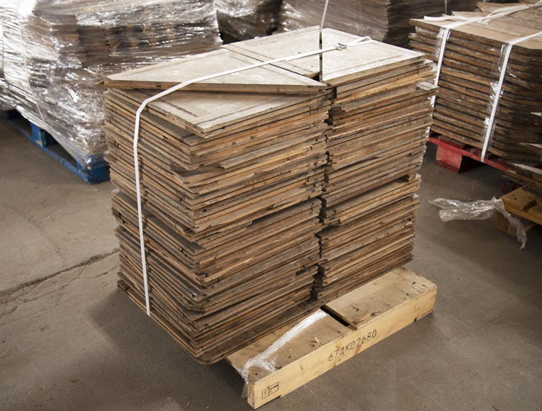 Lot of 7 m2 of square oak parquet panels-4