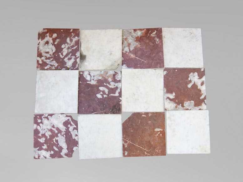 Marble floor composed of checkered floors in Carrara and Rouge du Languedoc-0