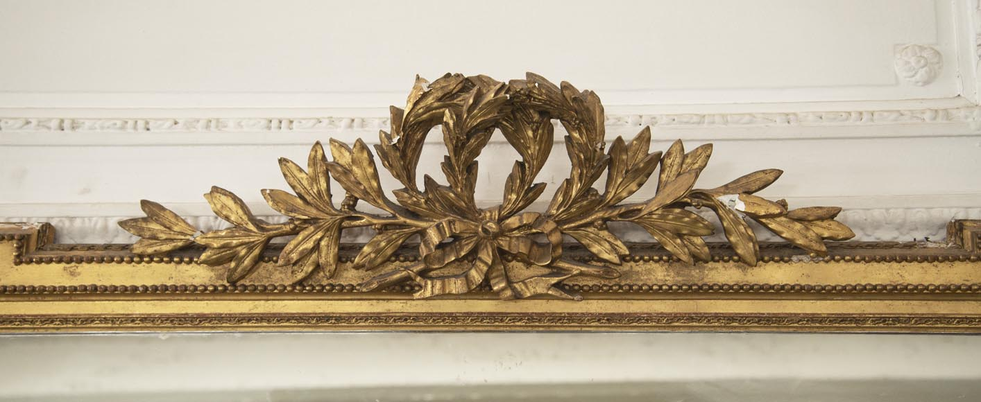 Antique Louis XVI style gilded trumeau decorated with a laurel wreath-1