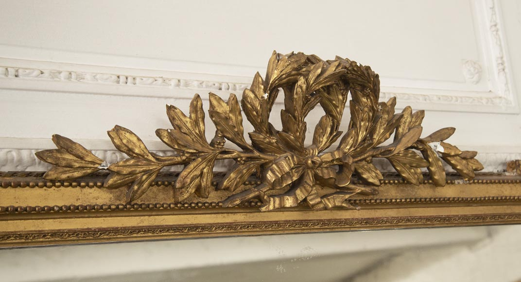 Antique Louis XVI style gilded trumeau decorated with a laurel wreath-2