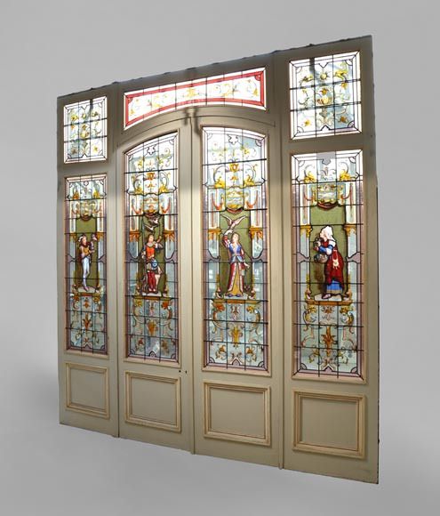 Antique separation doors with stained glass windows decorated with Renaissance characters signed by Charles Joseph VANTILLARD-0