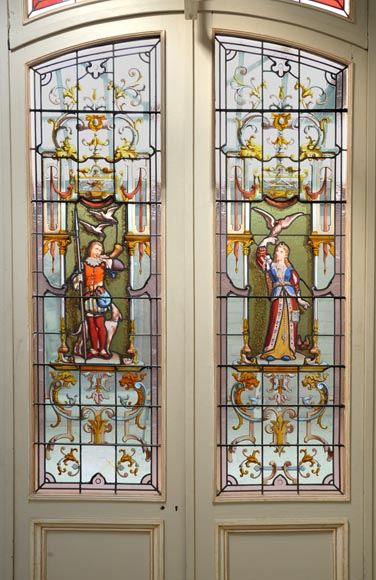 Antique separation doors with stained glass windows decorated with Renaissance characters signed by Charles Joseph VANTILLARD-1