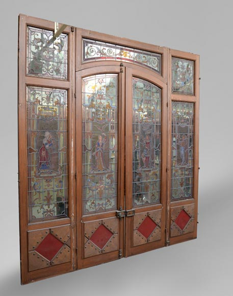 Antique separation doors with stained glass windows decorated with Renaissance characters signed by Charles Joseph VANTILLARD-9