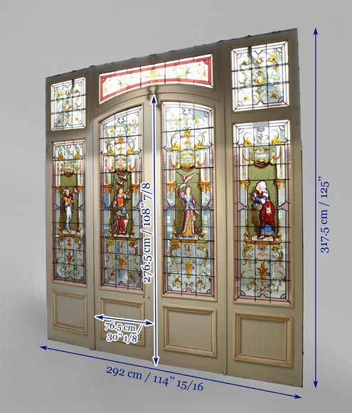 Antique separation doors with stained glass windows decorated with Renaissance characters signed by Charles Joseph VANTILLARD-11