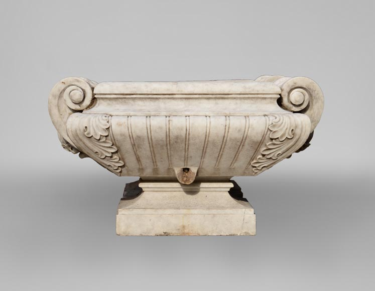 Pair of planters in Carrara marble in the Napoleon III style-1