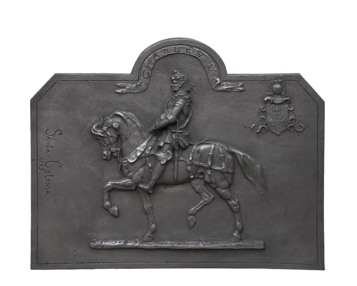 Cast iron fireback from the 20th century, with the effigy of King Charles VII-0