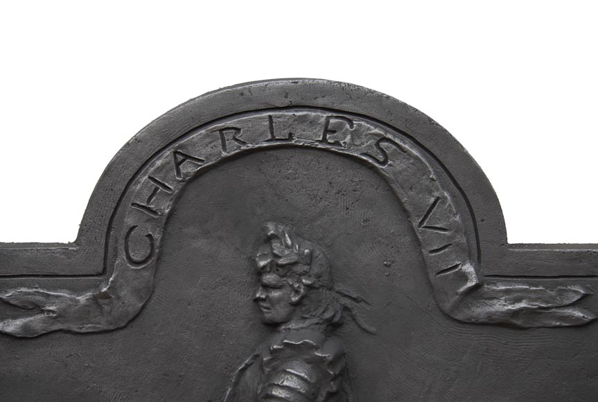 Cast iron fireback from the 20th century, with the effigy of King Charles VII-2