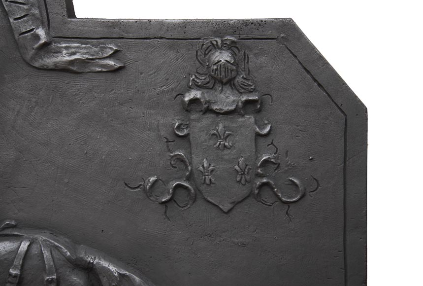 Cast iron fireback from the 20th century, with the effigy of King Charles VII-5