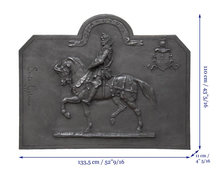 Cast iron fireback from the 20th century, with the effigy of King Charles VII-7