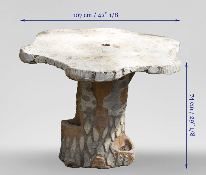 Rocaille style garden table made out of cement-6