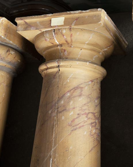 Set of wooden columns painted in imitation marble-3