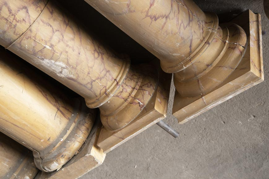 Set of wooden columns painted in imitation marble-7