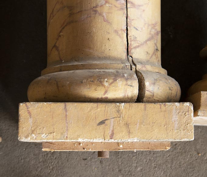 Set of wooden columns painted in imitation marble-8