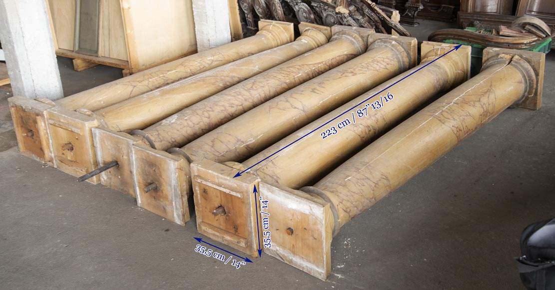 Set of wooden columns painted in imitation marble-10