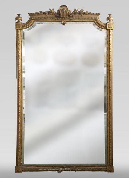 Antique gilded Trumeau, Napoleon III style, with a bevelled mirror-0