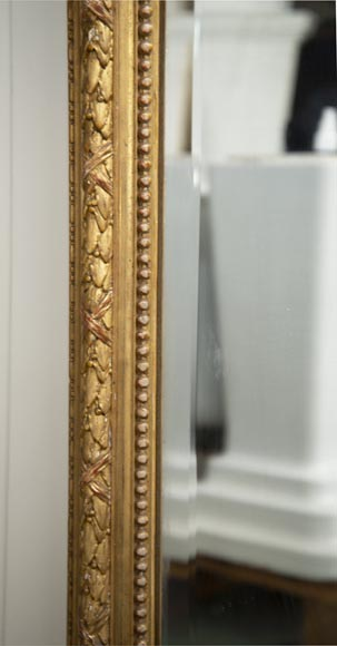 Antique gilded Trumeau, Napoleon III style, with a bevelled mirror-4