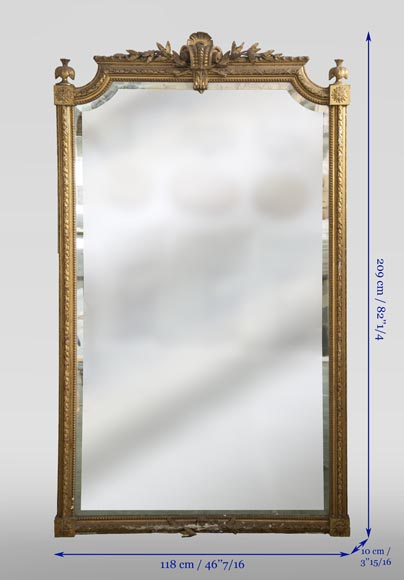 Antique gilded Trumeau, Napoleon III style, with a bevelled mirror-7