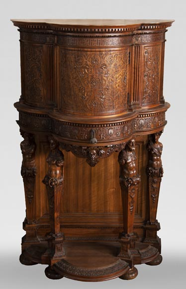 Small walnut credenza carved in the Neo-Renaissance style-0