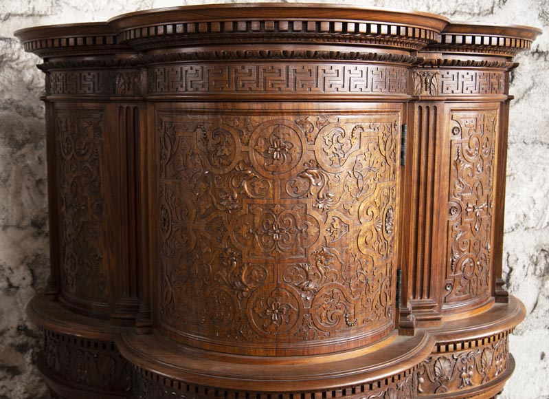 Small walnut credenza carved in the Neo-Renaissance style-2