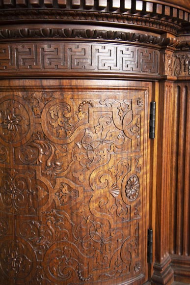 Small walnut credenza carved in the Neo-Renaissance style-3