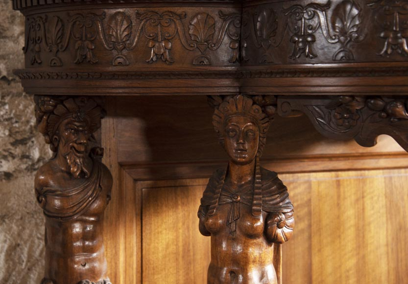 Small walnut credenza carved in the Neo-Renaissance style-6