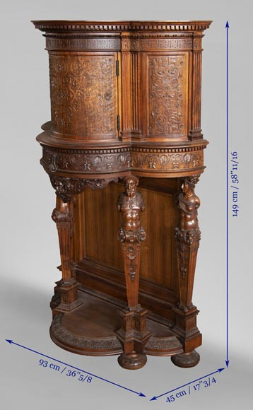 Small walnut credenza carved in the Neo-Renaissance style-8