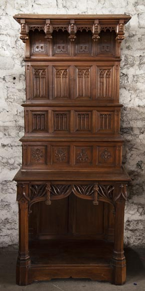 Pair of Neo-Gothic style carved walnut sideboards-1
