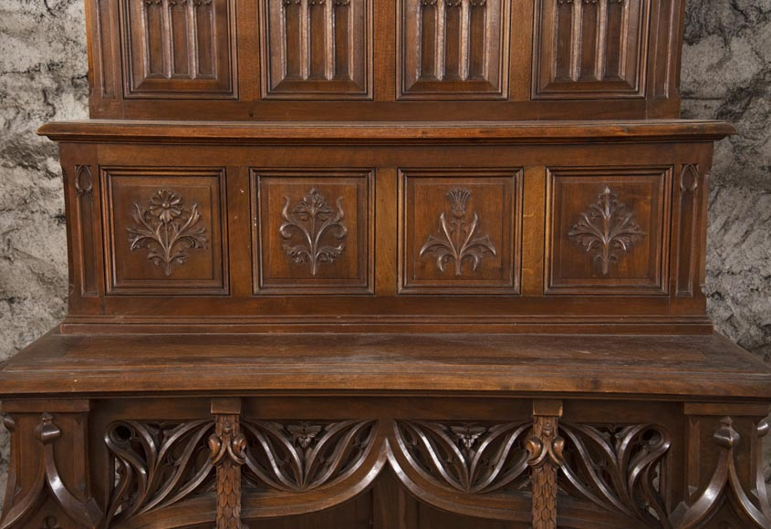 Pair of Neo-Gothic style carved walnut sideboards-5