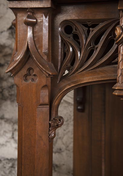 Pair of Neo-Gothic style carved walnut sideboards-7