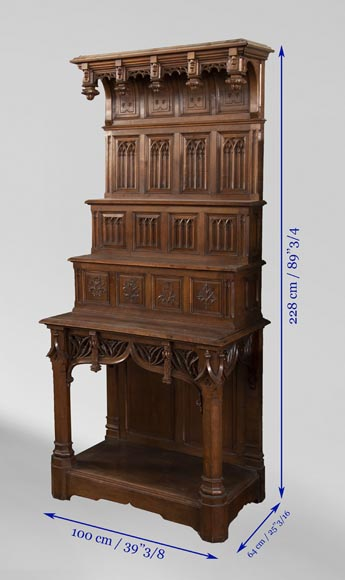 Pair of Neo-Gothic style carved walnut sideboards-8