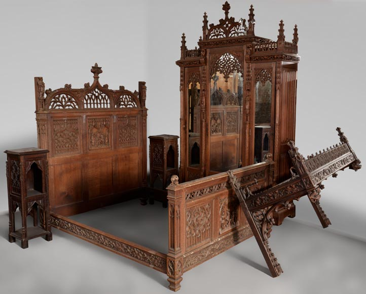 Neo-Gothic style bedroom furniture set in carved oak wood-0