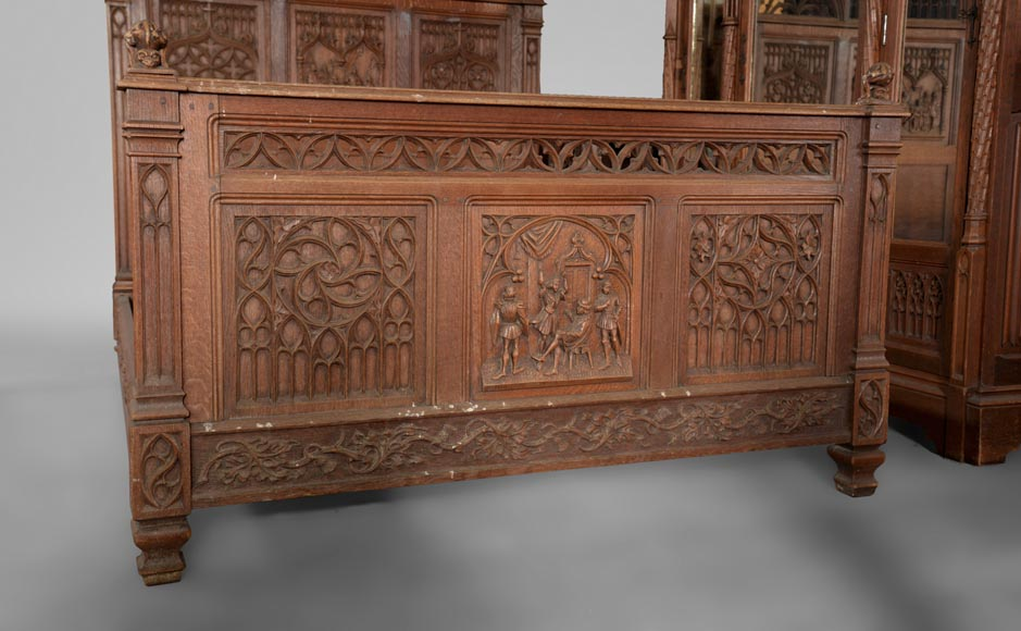 Neo-Gothic style bedroom furniture set in carved oak wood-2
