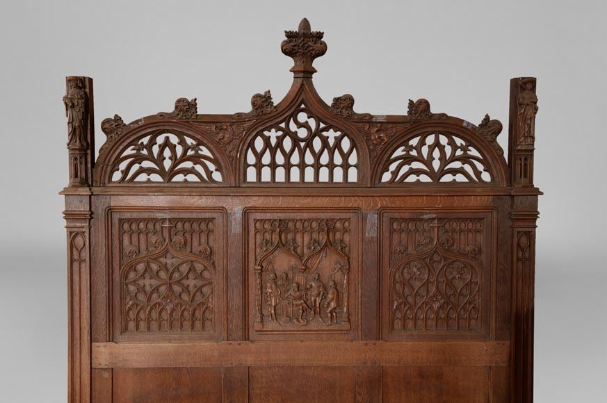 Neo-Gothic style bedroom furniture set in carved oak wood-3