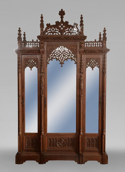 Neo-Gothic style bedroom furniture set in carved oak wood-6