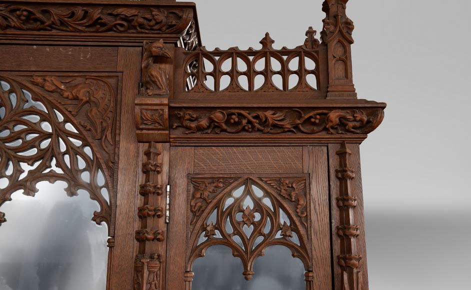 Neo-Gothic style bedroom furniture set in carved oak wood-7