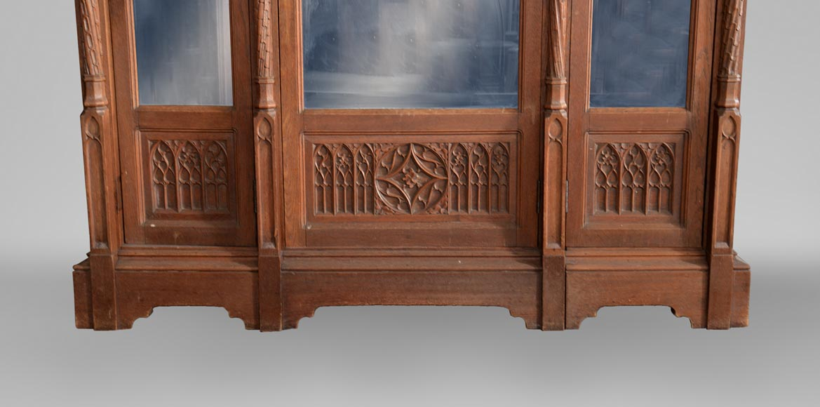 Neo-Gothic style bedroom furniture set in carved oak wood-9