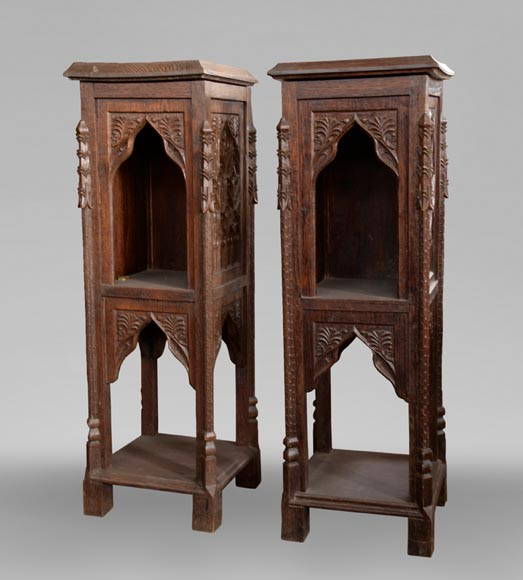 Neo-Gothic style bedroom furniture set in carved oak wood-10