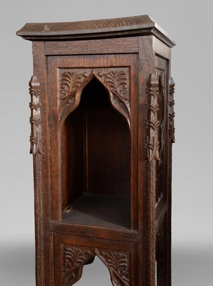 Neo-Gothic style bedroom furniture set in carved oak wood-11