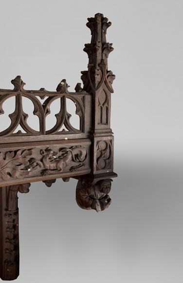 Neo-Gothic style bedroom furniture set in carved oak wood-15
